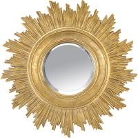 Miroir soleil doré dont les rayons sont en léger relief.