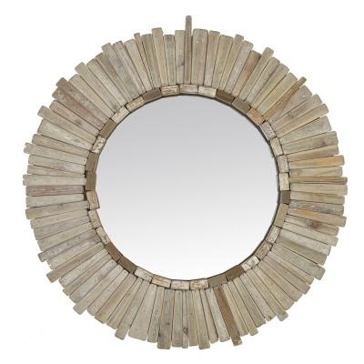 Miroir rond en bois naturel DE FACE