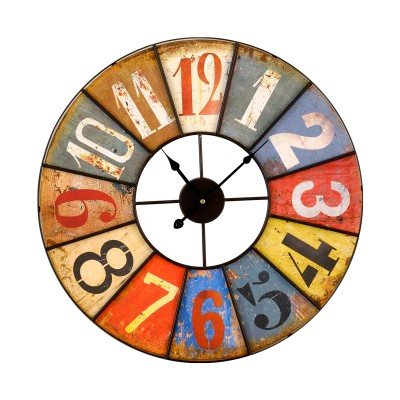 Horloge métal noir & multicolore DE FACE