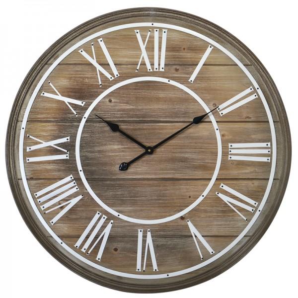 Finest horloge bois de face grande with grande horloge moderne design for Horloge murale bois moderne
