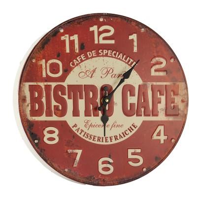 Horloge rouge BISTRO DE FACE