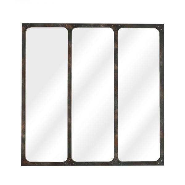Miroir fen tre m tal effet rouille for Miroir 60 x 90
