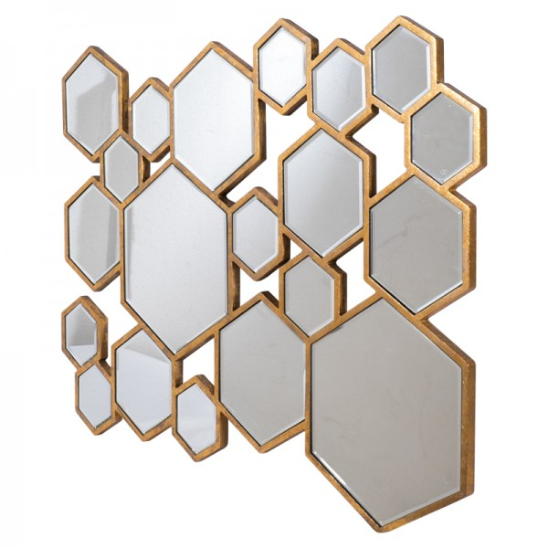 Miroir d co hexagones dor for Deco 3 miroirs