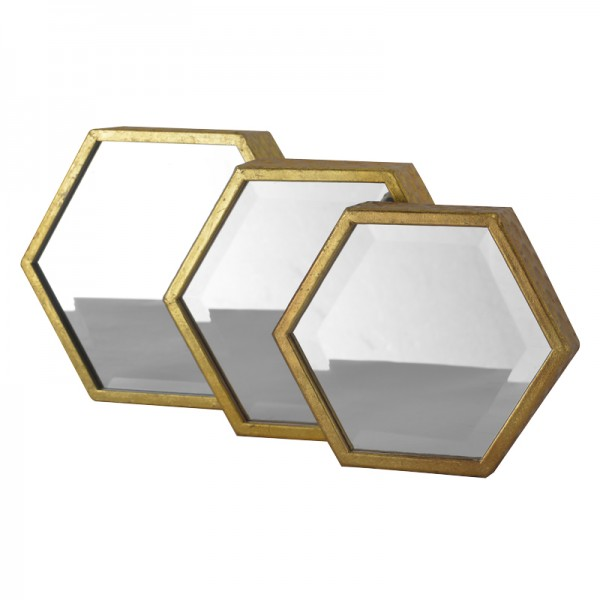 Lot de 3 miroirs d co hexagones or for Deco 3 miroirs