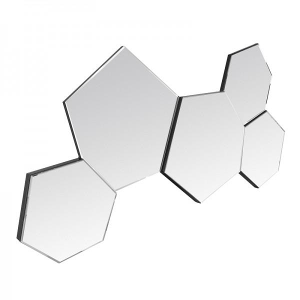 Miroir d co hexagones contour argent for Miroir contour argent