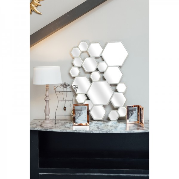 Miroir d co hexagones argent for Miroir convexe deco