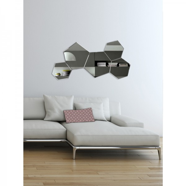 Miroir d co hexagones contour argent for Deco 3 miroirs