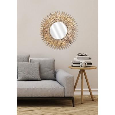 Miroir rond style miroir soleil doré avec plumes