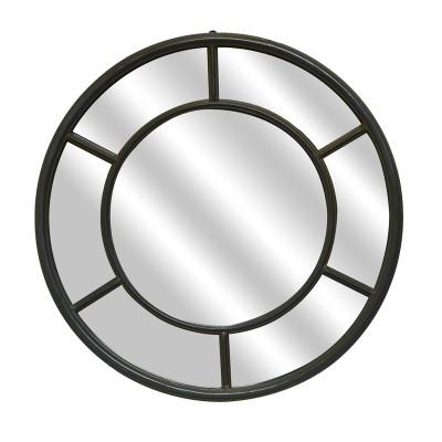 miroir fen tre rond en m tal noir. Black Bedroom Furniture Sets. Home Design Ideas