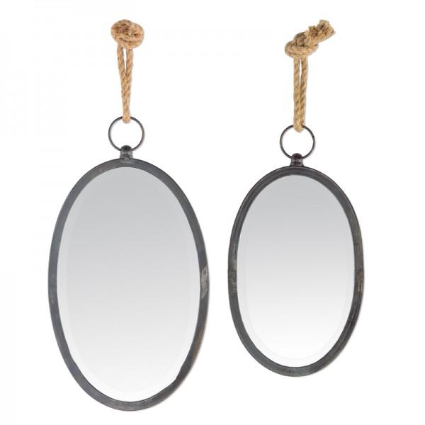 miroir noir ovale suspendre avec une corde