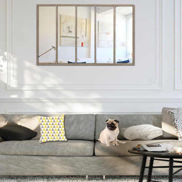 miroir fen tre m tal effet rouille. Black Bedroom Furniture Sets. Home Design Ideas
