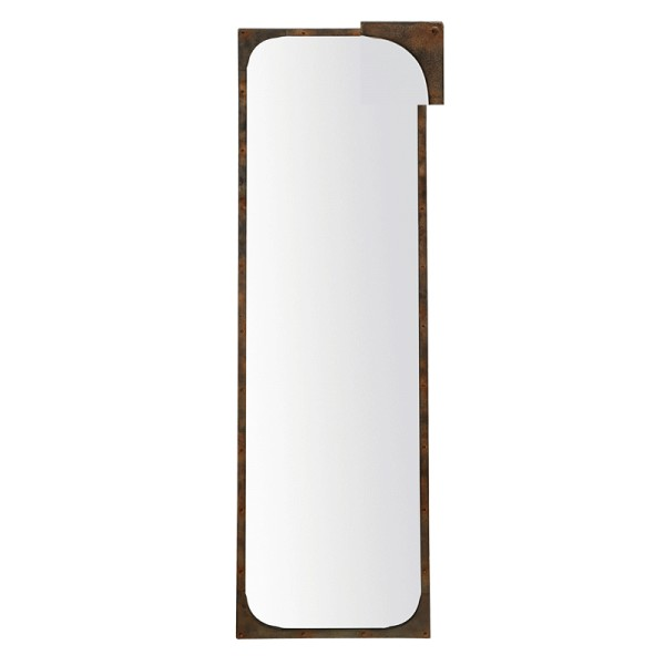 Miroir m tal long rectangulaire effet rouille poser ou for Fixer un miroir au mur