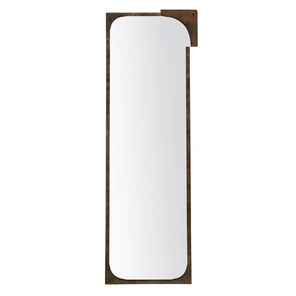 Miroir m tal long rectangulaire effet rouille poser ou for Miroir long blanc