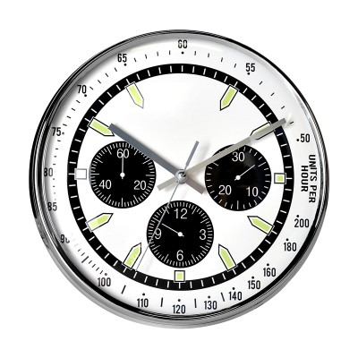 Horloge MONTRE blanche et chrome - de face