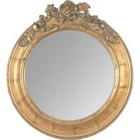 Miroir rond et doré, c'est un ancien miroir orné de roses sur la partie supérieure du cadre