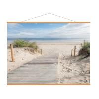 Photo sur toile, kakémono déco en chêne représentant une plage en plein jour
