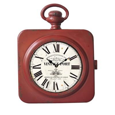 Petite horloge en métal rouge
