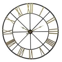 Très grande horloge en métal noir et doré