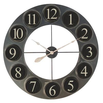 Grande horloge en métal noir, horloge industrielle