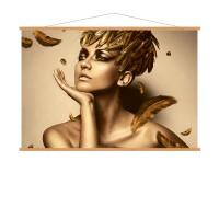 Photo sur toile d'une femme avec des plumes dorées, kakémono déco en chêne