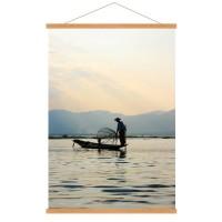 Photo sur toile, kakémono déco d'un pêcheur Birman au lever du soleil