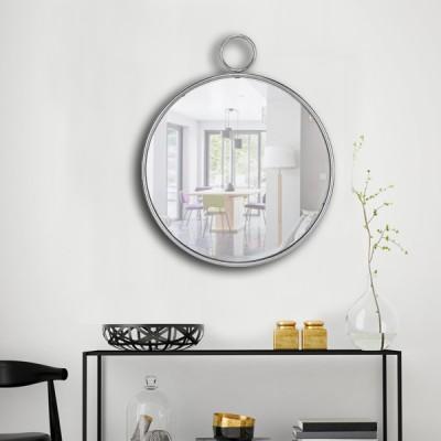 Miroir rond métal argent anneau 62X74