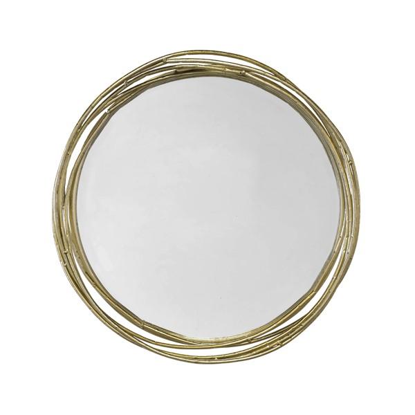 Miroir rond en m tal dor entrelac l gant et boh me for Miroir boheme
