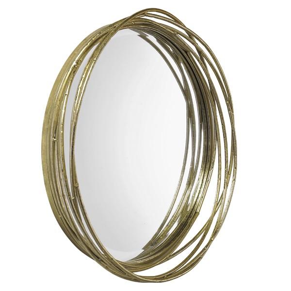 miroir rond en m tal dor entrelac l gant et boh me. Black Bedroom Furniture Sets. Home Design Ideas