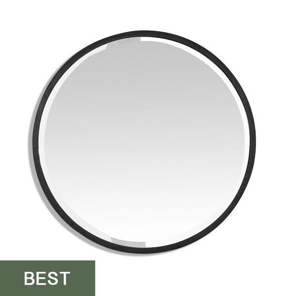 miroir rond noir m tal biseaut 60 cm grand format. Black Bedroom Furniture Sets. Home Design Ideas