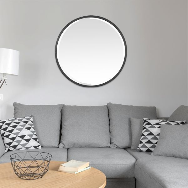 miroir rond noir m tal biseaut 60 cm grand format. Black Bedroom Furniture Sets. Home Design Ideas