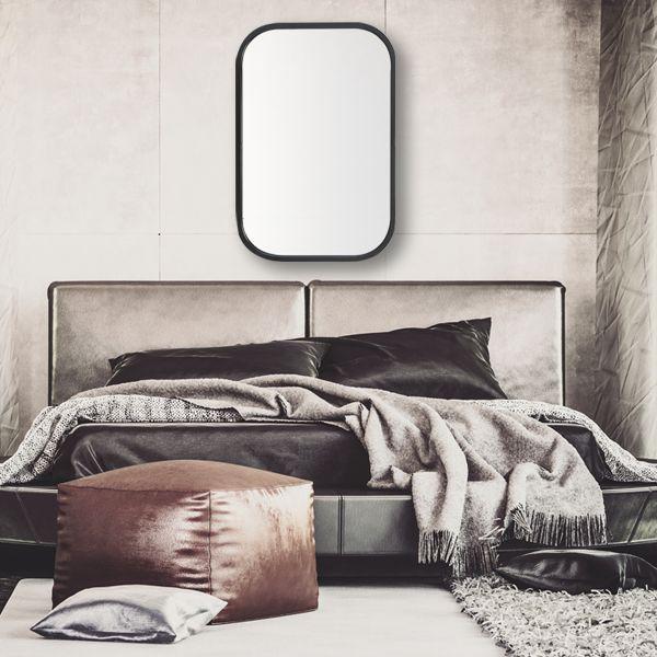 Miroir retro rectangle noir en m tal tr s tendance aux coins arrondis objet de d coration pour for Miroir arrondi