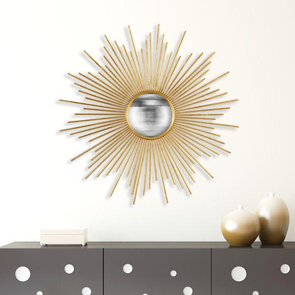 miroir soleil rond dor convexe vintage et tropical. Black Bedroom Furniture Sets. Home Design Ideas