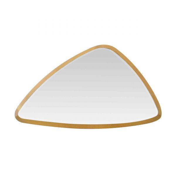 Miroir triangle arrondi en m tal dor taille moyenne for Miroir arrondi