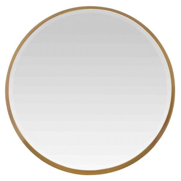 Miroir cadre rond pais or design chic f minin 54x54x4 cm for Miroir rond dore