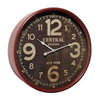 HORLOGE METAL ROUGE CENTRAL 50CM