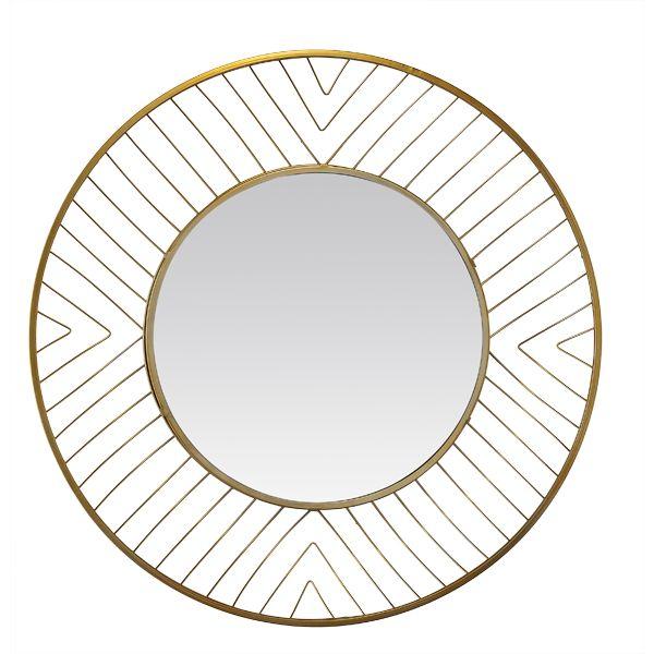 Miroir rond filaire dor 80x80 cm for Miroir rond dore