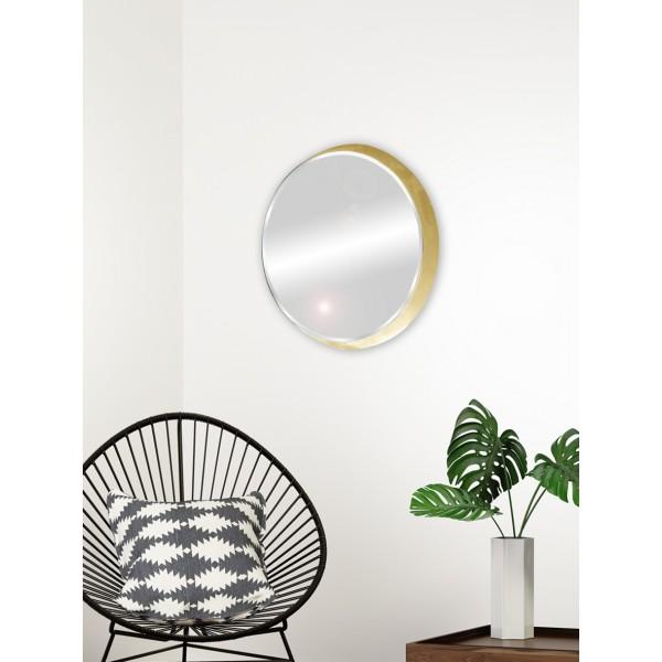 miroir cadre rond pais or design chic f minin 54x54x4 cm. Black Bedroom Furniture Sets. Home Design Ideas